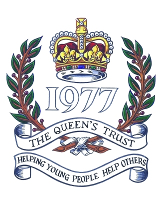 Queens TRust logo. Helping Young People Help Others. 1977.
